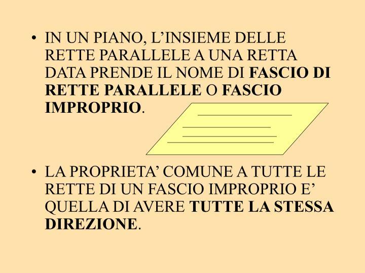 IN UN PIANO, L'INSIEME DELLE RETTE PARALLELE A UNA RETTA DATA PRENDE IL NOME DI