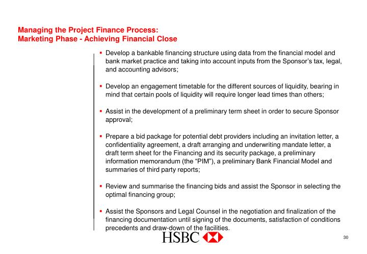 Managing the Project Finance Process: