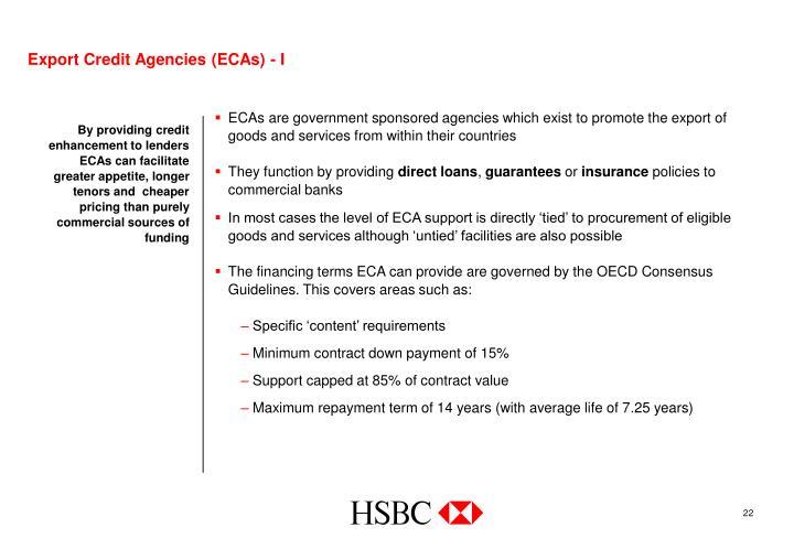 Export Credit Agencies (ECAs) - I