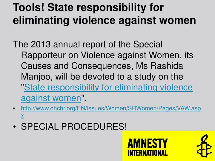 Tools! State responsibility for eliminating violence against women