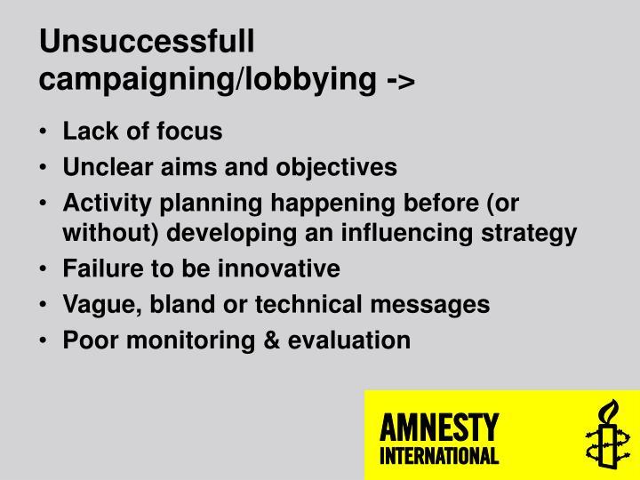 Unsuccessfull campaigning/lobbying ->