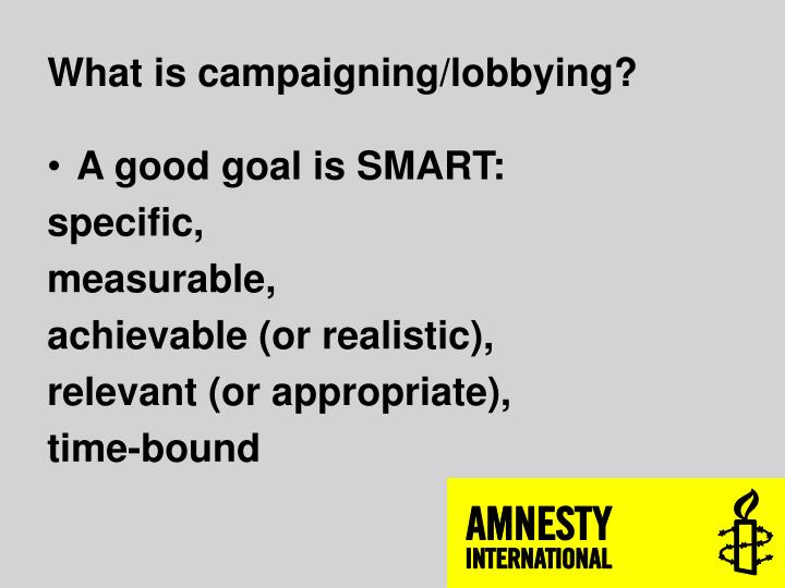 What is campaigning/lobbying?