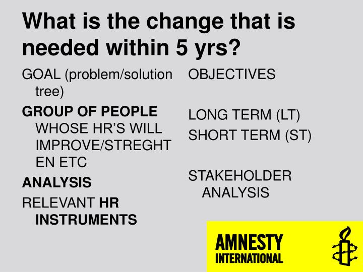 What is the change that is needed within 5 yrs?
