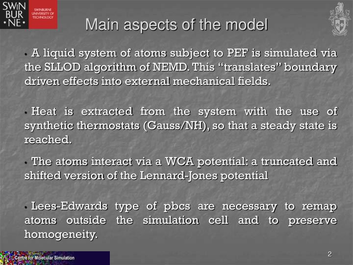 Main aspects of the model