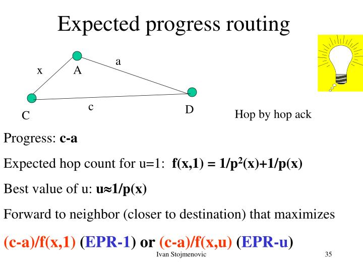 Expected progress routing