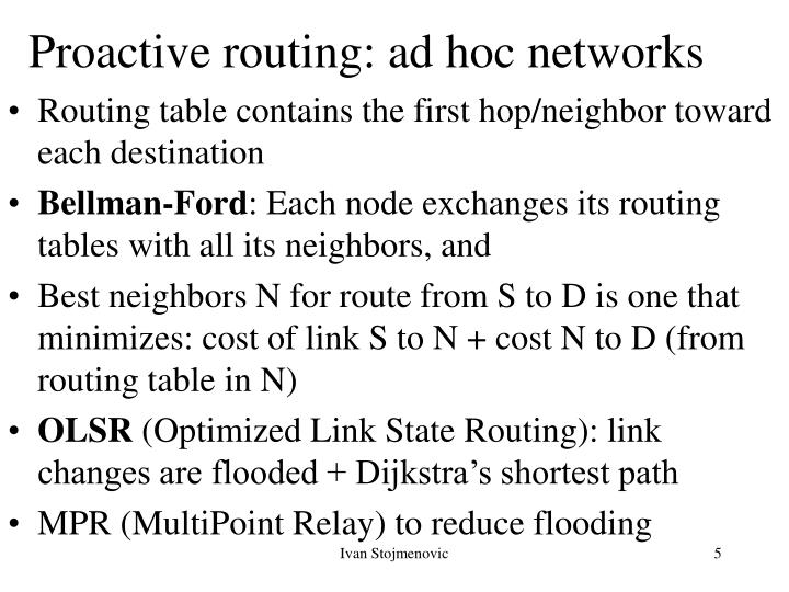 Proactive routing: ad hoc networks
