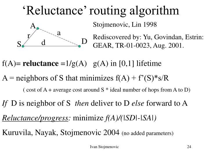 'Reluctance' routing algorithm