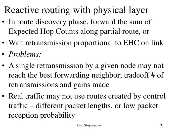 Reactive routing with physical layer