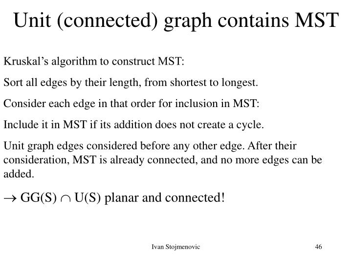Unit (connected) graph contains MST