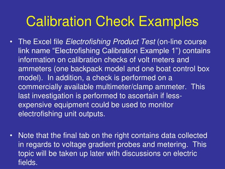 Calibration Check Examples
