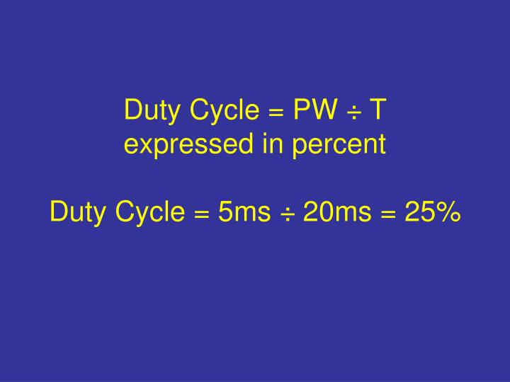 Duty Cycle = PW ÷ T