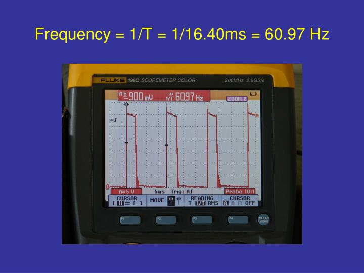 Frequency = 1/T = 1/16.40ms = 60.97 Hz