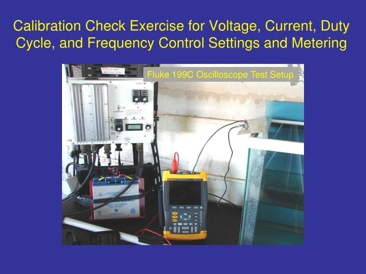 Calibration Check Exercise for Voltage, Current, Duty Cycle, and Frequency Control Settings and Metering