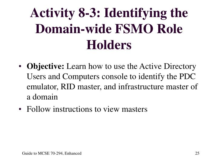 Activity 8-3: Identifying the Domain-wide FSMO Role Holders