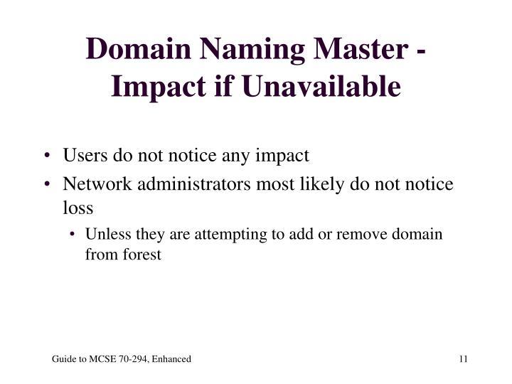 Domain Naming Master - Impact if Unavailable