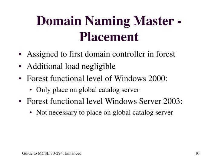 Domain Naming Master - Placement