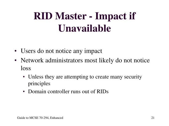 RID Master - Impact if Unavailable