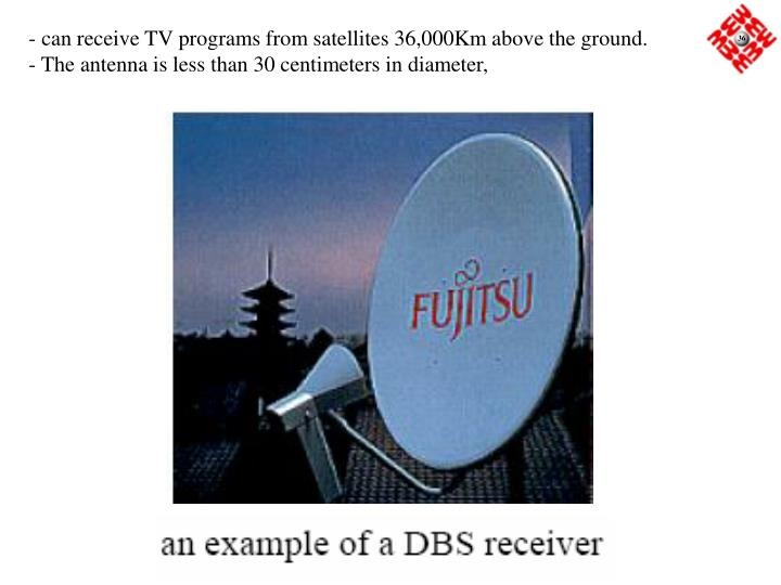 - can receive TV programs from satellites 36,000Km above the ground.