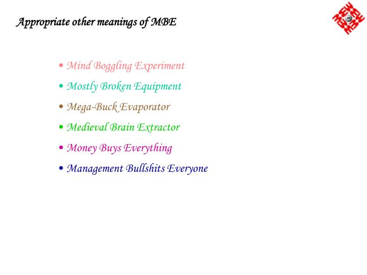 Appropriate other meanings of MBE