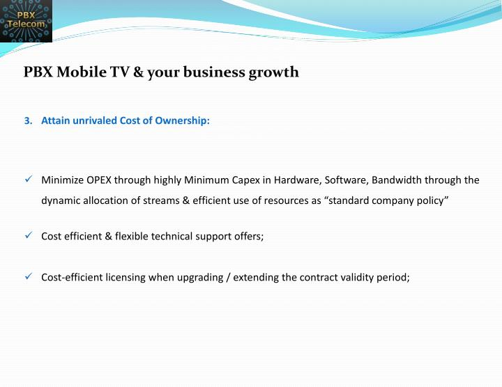 PBX Mobile TV & your business growth
