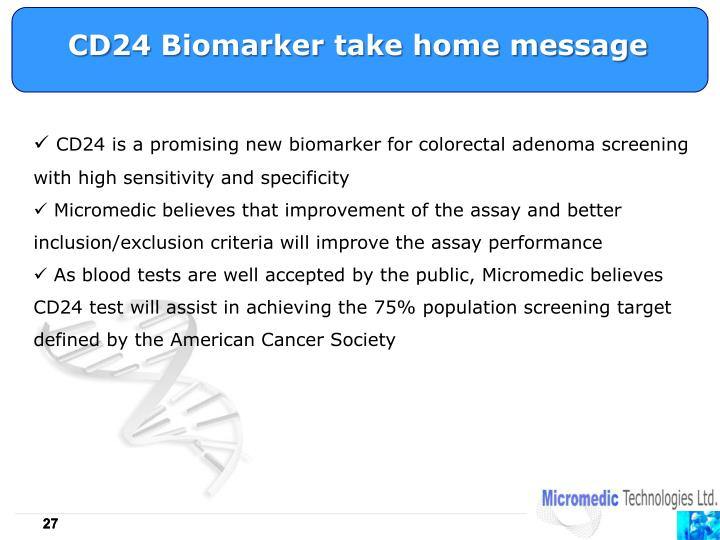 CD24 Biomarker take home message