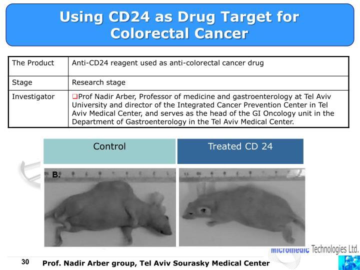 Using CD24 as Drug Target for Colorectal Cancer