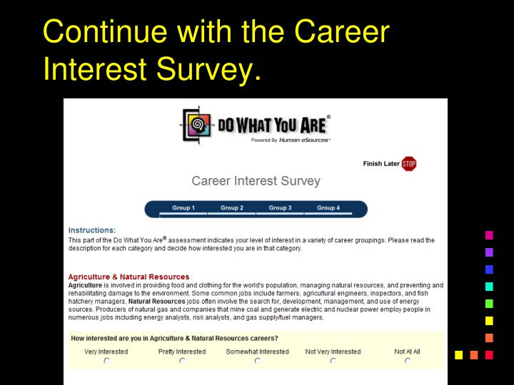 Continue with the Career Interest