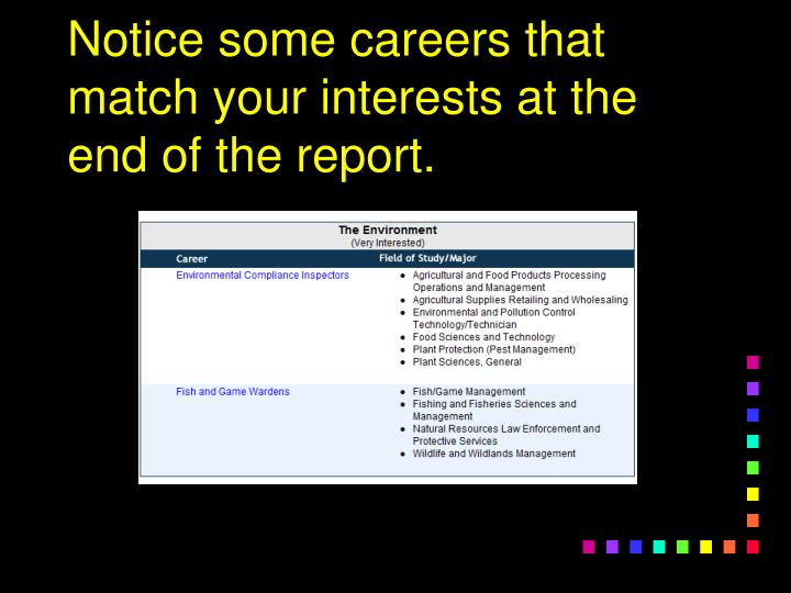 Notice some careers that match your interests at the end of the report.