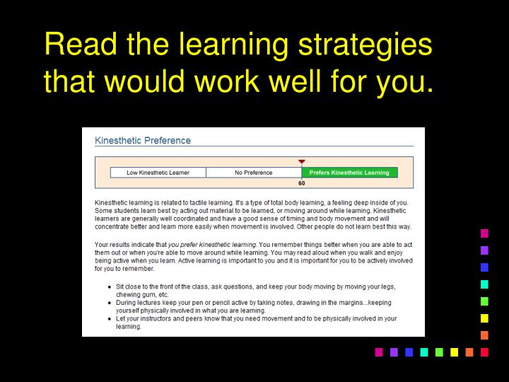 Read the learning strategies that would work well for you.