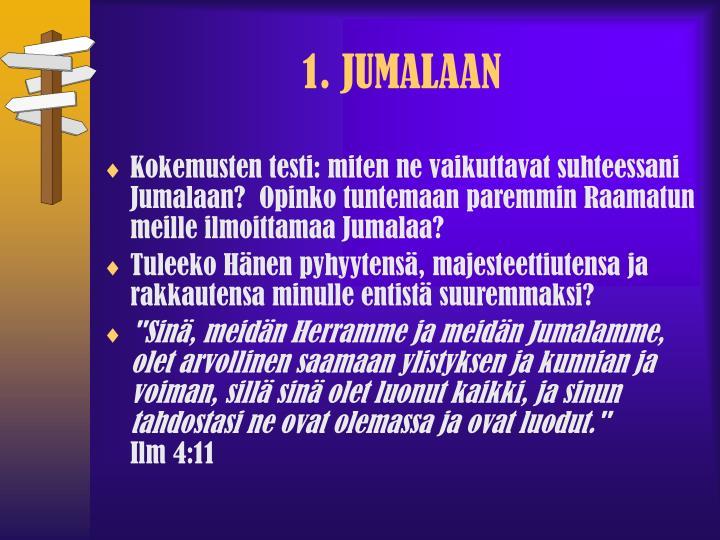 1. JUMALAAN