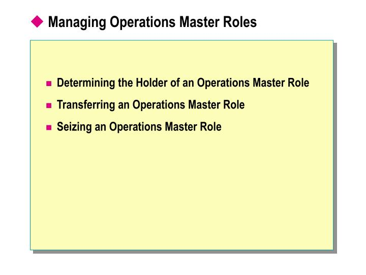 Managing Operations Master Roles
