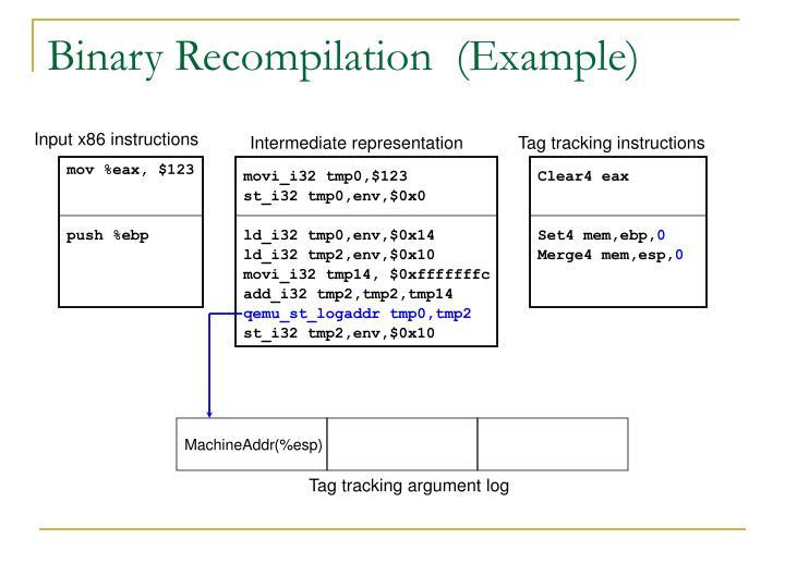Binary Recompilation  (Example)