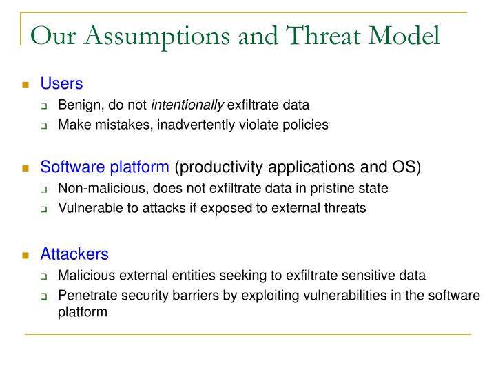 Our Assumptions and Threat Model