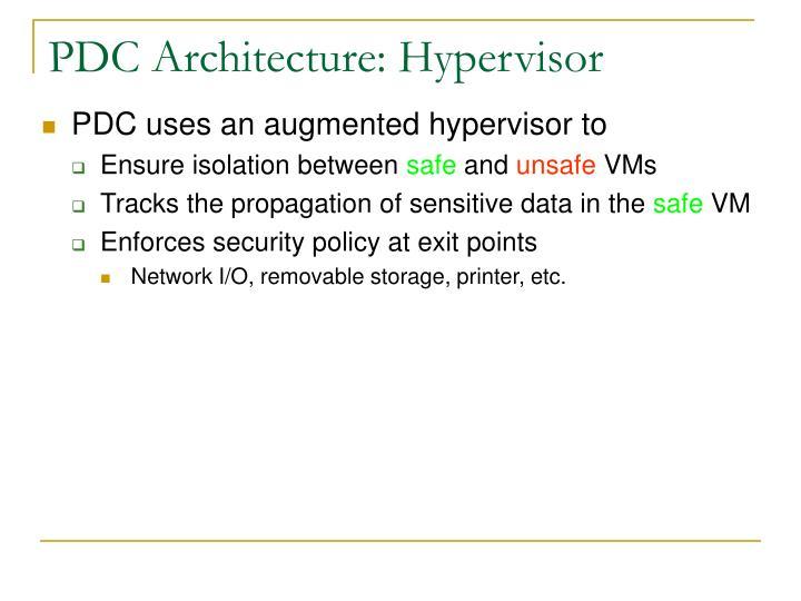 PDC Architecture: Hypervisor