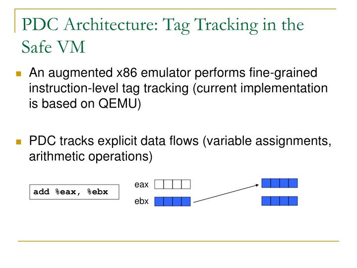 PDC Architecture: Tag Tracking in the Safe VM
