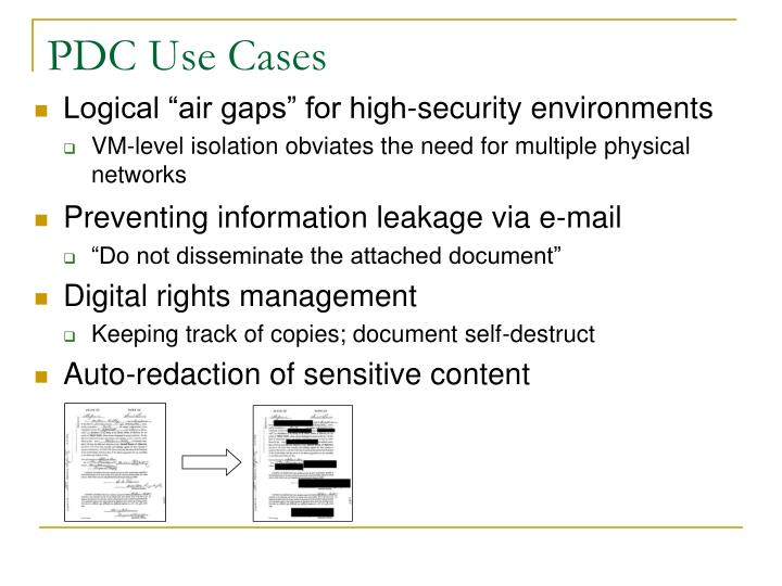 PDC Use Cases