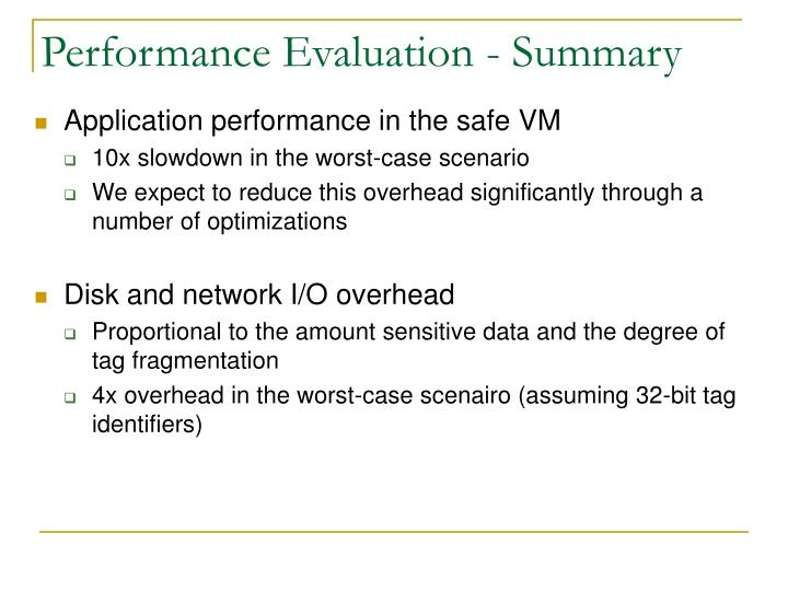 Performance Evaluation - Summary