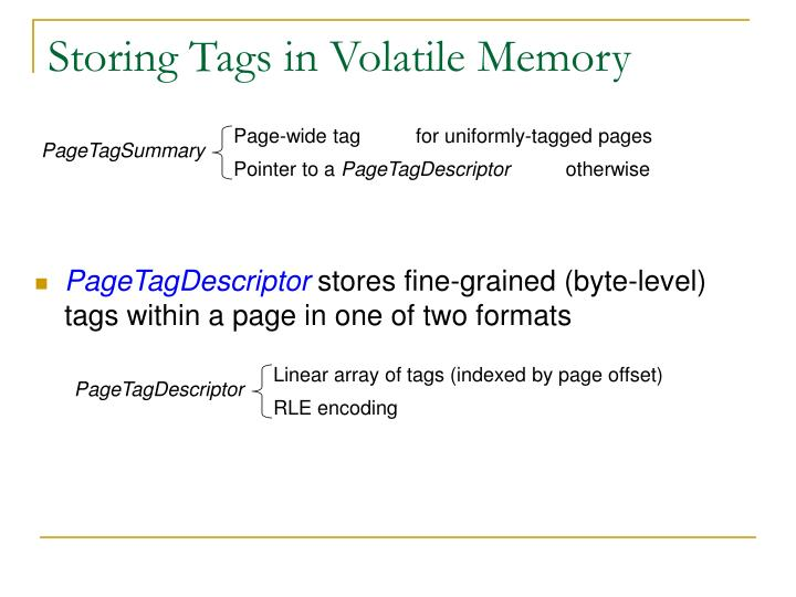Storing Tags in Volatile Memory