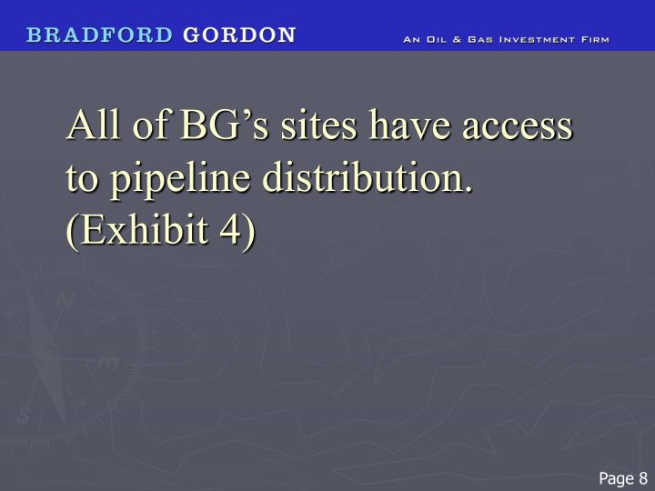 All of BG's sites have access to pipeline distribution. (Exhibit 4)