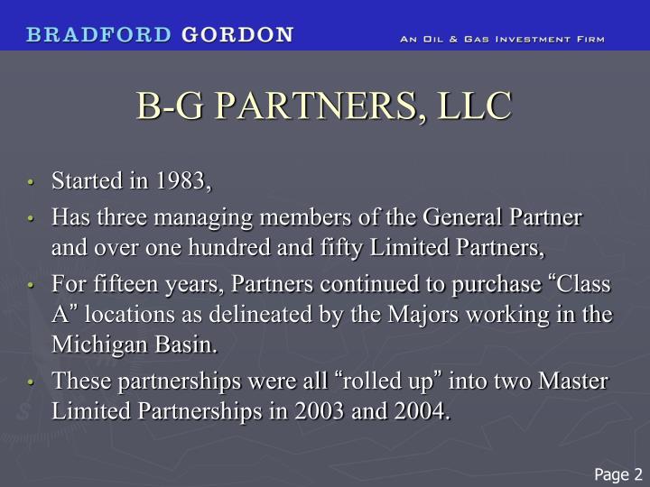 B-G PARTNERS, LLC