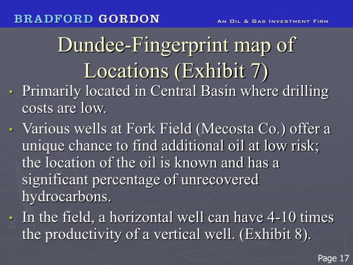 Dundee-Fingerprint map of Locations (Exhibit 7)