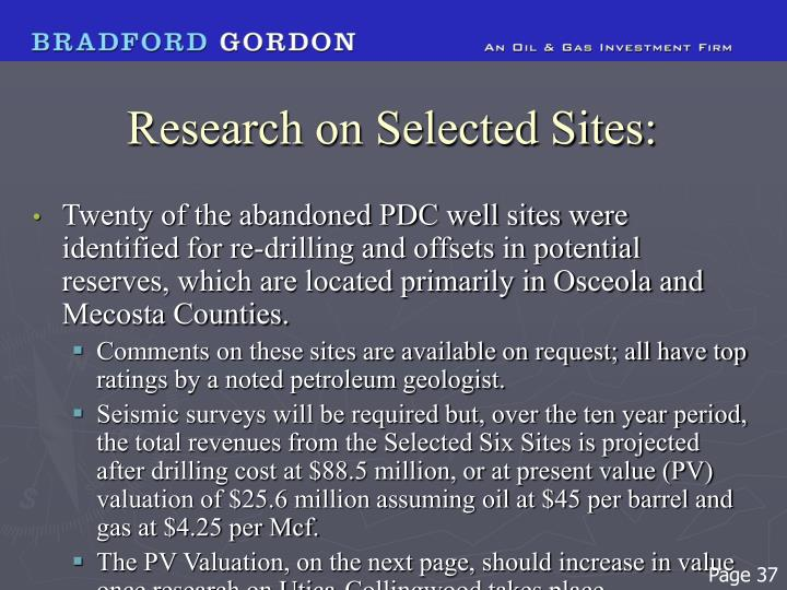 Research on Selected Sites:
