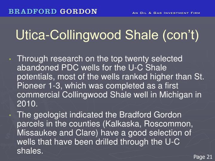 Utica-Collingwood Shale (con't)
