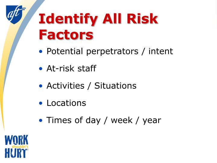 Identify All Risk Factors