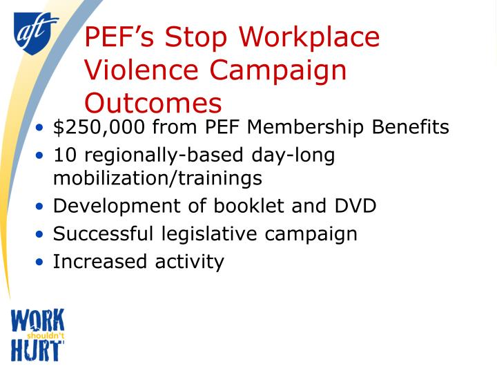 PEF's Stop Workplace Violence Campaign Outcomes