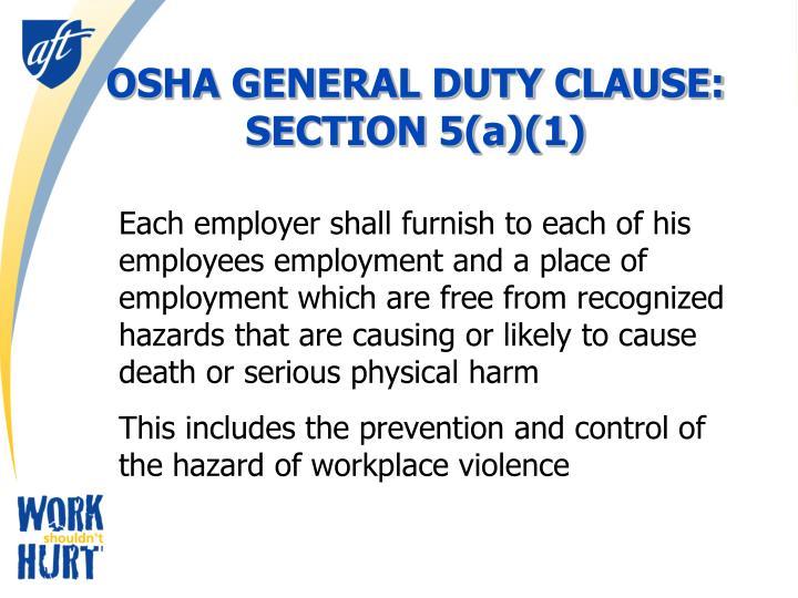 OSHA GENERAL DUTY CLAUSE: