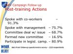 swv campaign follow up post training actions