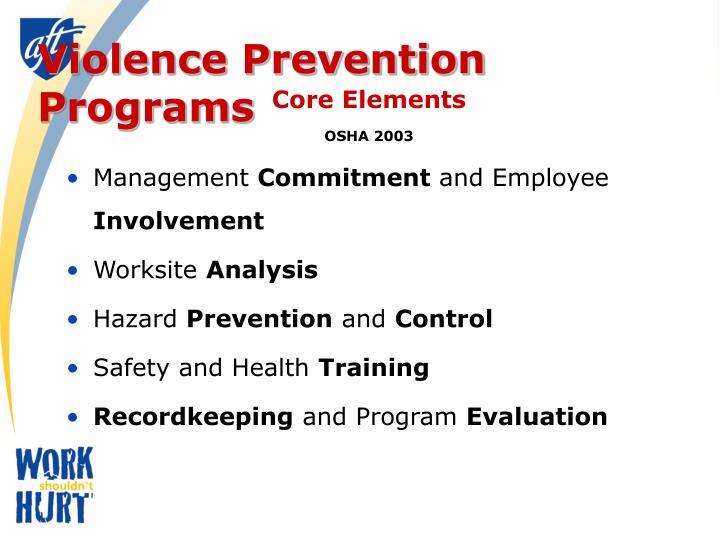 Violence Prevention Programs