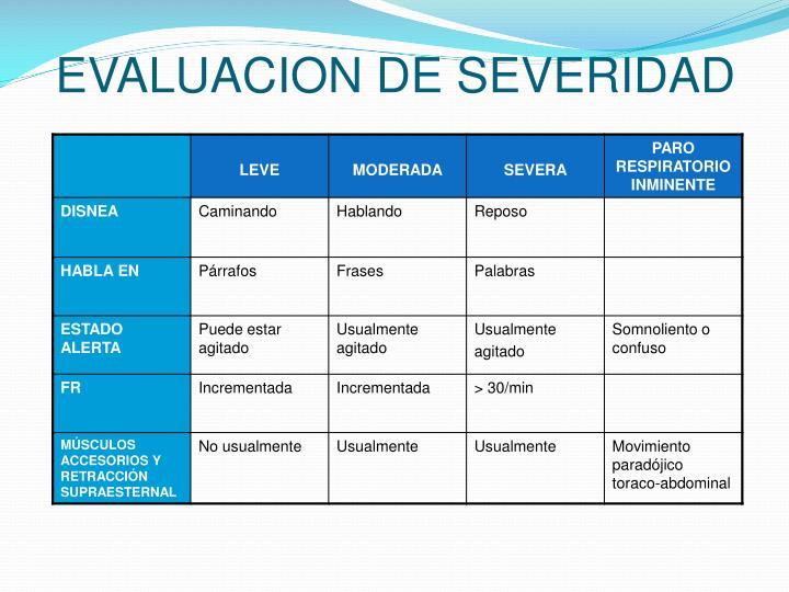 EVALUACION DE SEVERIDAD