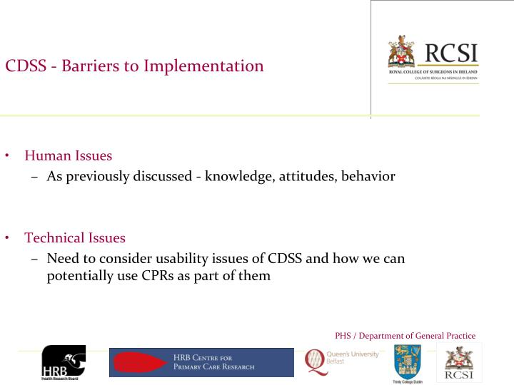 CDSS - Barriers to Implementation